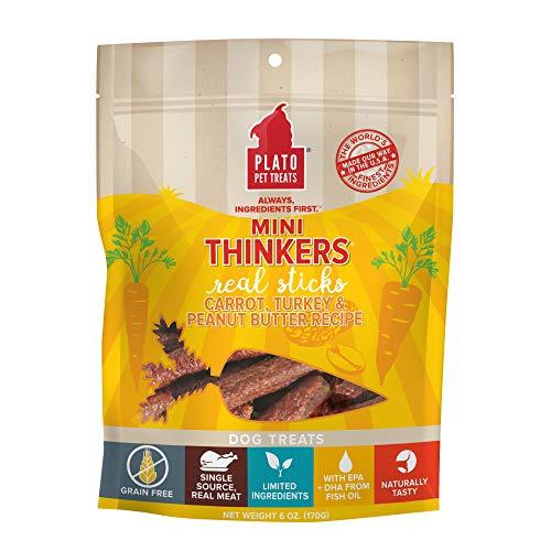 PLATO, Pet Treats, Mini Thinker Sticks Soft Chewy Dog Treats, Air-Dried in USA, Carrot, Turkey & Peanut Butter, 8 oz Bag