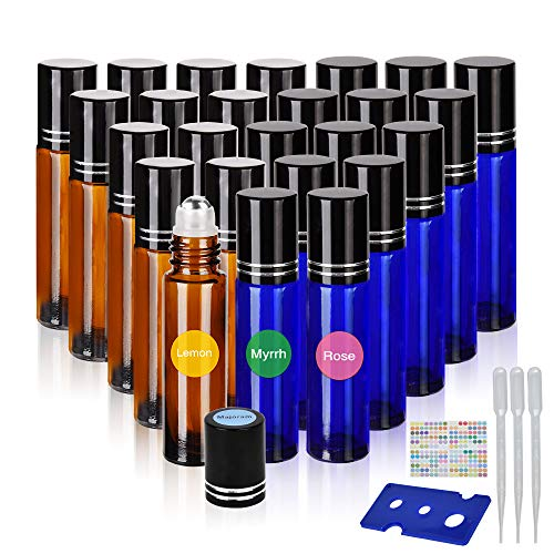 Essential oil roller bottles with stainless steel roller balls 10 ml Roller bottles for oils, aromatherapy or perfume 24pcs oil roller bottles with bottle opener, eye droppers and labels