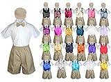 Baby Kid Toddler Boy Party Suit KHAKI Shorts Shirt Hat Necktie Vest set Sm-4T (3T, Brown)