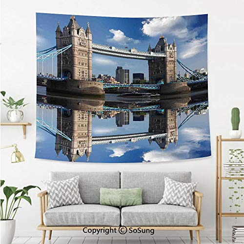 London Wall Tapestry,Tower Bridge with City Cruise in Summer Day Mirroring on Tranquil Thames River,Bedroom Living Room Dorm Wall Hanging,80X60 Inches,Taupe and Blue