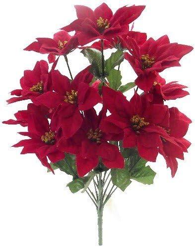 mit 9 Bl/üten Weihnachtsstern samtig Farbe: rot Jasaco k/ünstlicher Poinsettienbusch