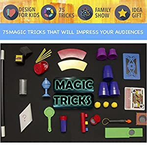 Jumbo Magic Tricks Set for Kidswith Over 75 tricks, classic illusions, Mysterious Levitating Wand, Magic Cup Ball, Coin Tricks, ready to play, idea birthday gift for kids 6 years and up
