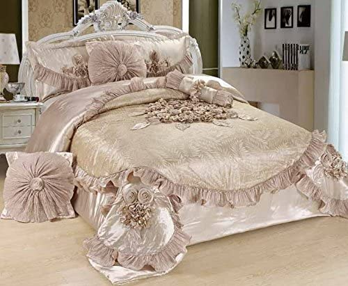 Tache Home Fashion 6 Piece Satin Luxurious Floral Solid Comforter Set, Cal King, Sweet Victorian Beige