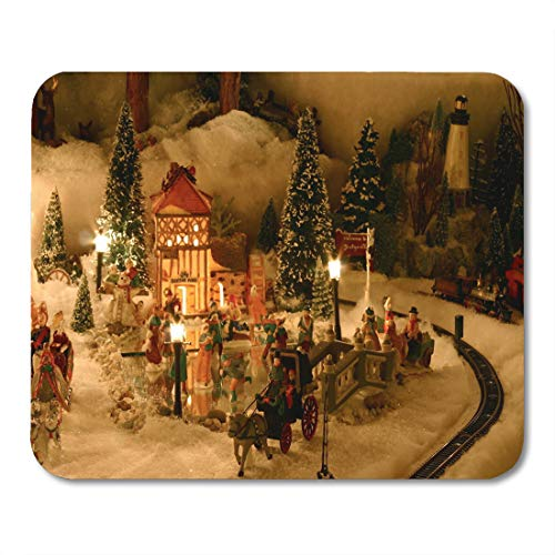 - Emvency Mouse Pads Tree People Christmas Village Miniature Houses Train Victorian Ceramic Mouse Pad for notebooks, Desktop Computers mats 9.5