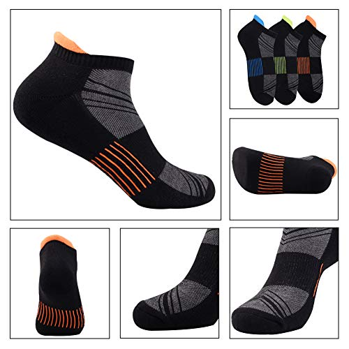 Mens Ankle Low Cut Athletic Tab Socks for Men Sports Comfort Cushion Sock 6 Pack,Black,Sock Size 10-13