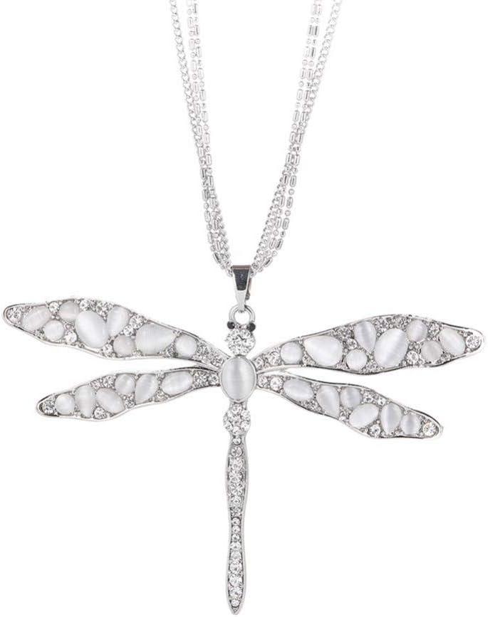 Fnito Collar Collar Colgante de libélula de Cristal de Piedra de Marfil Negro Collar Largo de Cadena Larga de Plata Colgante de joyería Elegante Mejor Regalo