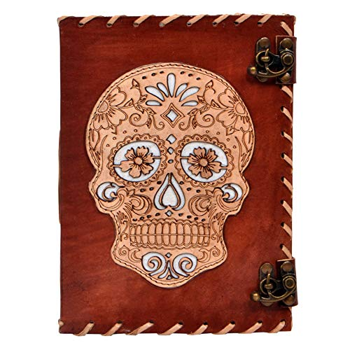 Making Memories Embossed Leather - Leather Journal Day of Dead Skull Embossed Cut Work Book of Shadows Notebook Office Diary College Handbook Poetry Book Sketch Book 6 x 8 Inches for Men and Women
