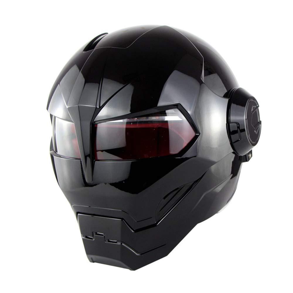 noir L Full Face Casque de Moto Iron Man Plein Visage Casque Super personnalité rétro Style Harley Transformers Casque Visage Sohomme515