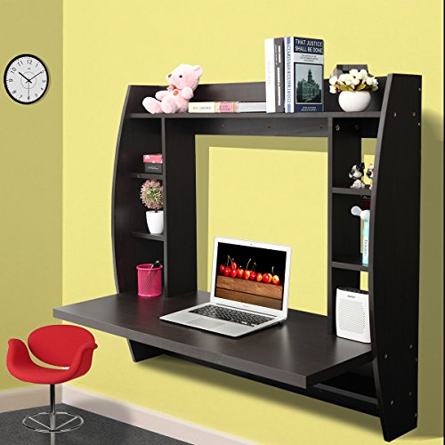 JAXPETY Wall Mounted Floating Computer Desk With Storage