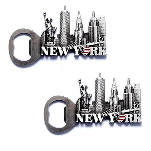 NYC Skyline Opener New York Souvenir Metal Fridge NY Magnet