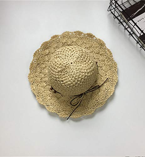 Hand-Woven Straw hat Cap Women Girls Summer Crochet Unique Foldable Large Coastal Side Beach Visor Child Tide Vacation (Cream-Colored