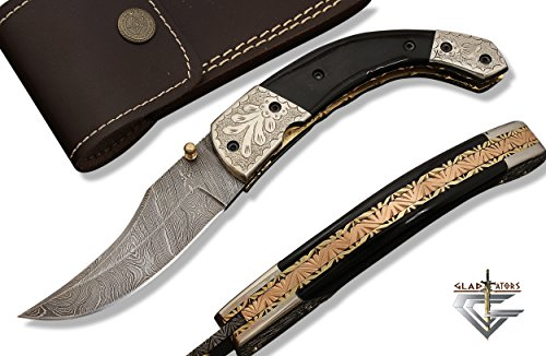 6012H Engraved Custom Survival Pocket knife - Handmade Damascus Steel Tactical Folding Pocket Knife with Sheath GladiatorsGuild (Horn Black)