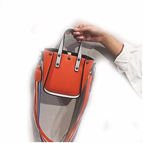 GTVERNH-Bolso Bolso Femenino Simple Solo Bolso De Hombro Bolso De Moda Correa De Hombro Ancha Madre Sesgar En Bolsa,Black Orange color
