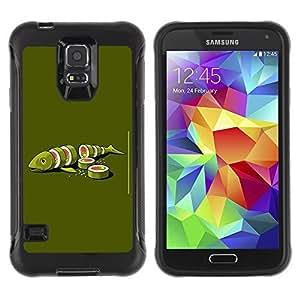 Hybrid Anti-Shock Defend Case for Samsung Galaxy S5 / Sushi Fish