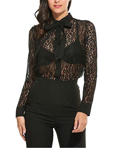 Goldenfox Women Button Down Summer Lace ShirtLong Sleeve Bow Shirt (Black, XXL)
