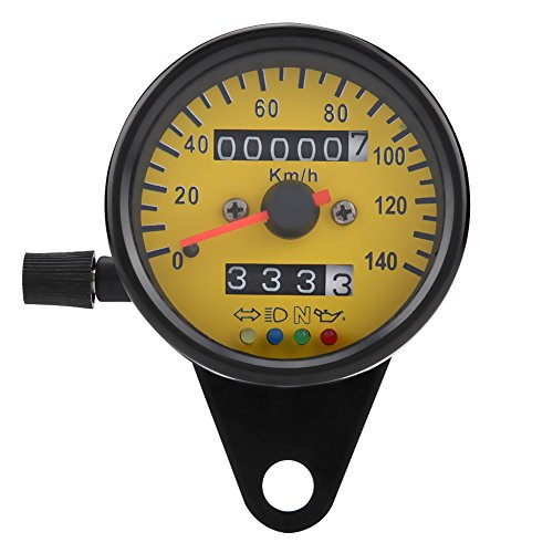 Speedometer,60mm Motorcycle Odometer Speedometer Gauge with Indicator Black: