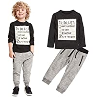 Elevin(TM)Kids Toddler Boys Handsome Black Blouse Tshirt+ Gray Casual Pants Outfits (5T)