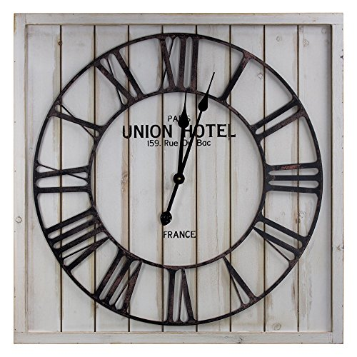 American Art Décor Analog Metal Wall Clock Square Wood Round Iron Union Hotel Paris Roman Numerals Battery Operated Vintage French Kitchen Living Room Dining Room Decor