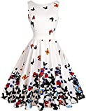 OLADY Women's BoatNeck Sleeveless Vintage Tea Dress, Fit and Flare Rockabilly Floral 1950s Pinup Swing Dress,Beige Butterfly,Medium