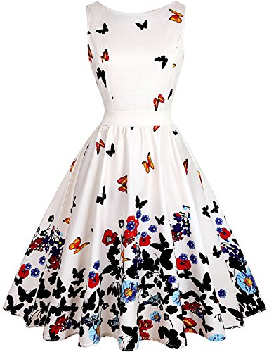 OLADY Women's BoatNeck Sleeveless Vintage Tea Dress, Fit and Flare Rockabilly Floral 1950s Pinup Swing Dress,Beige (Garden Party Dress)