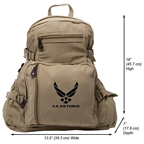 Air Force Backpacks - US Air Force Army Sport Heavyweight Canvas Backpack Bag in Khaki & Black, Large