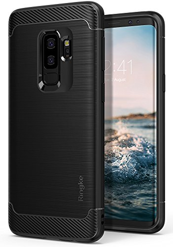 (Galaxy S9 PLUS Case, Ringke [Onyx] Brushed Metal Design [Flexible & Slim] Dynamic Stroked Line Pattern Durable Anti Slip Impact Shock Absorbent Case for Samsung Galaxy S9 Plus (2018) - Black)