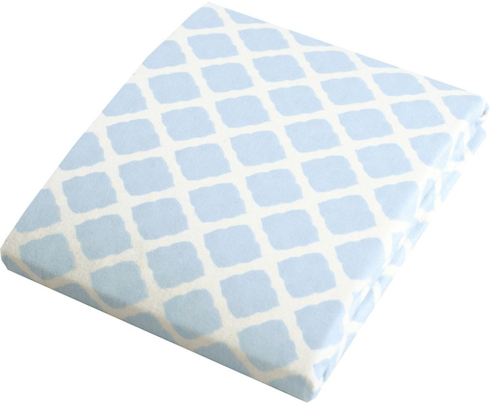 Kushies Baby Change Pad Fitted Sheet, Blue Lattice