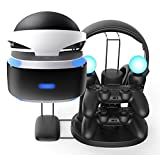 PS VR Charger Stand, FastSnail All in One Charging Station or Display Stand for PlayStation VR Helmet, PS4 Controller, PS Move and Headset with AC Adapter