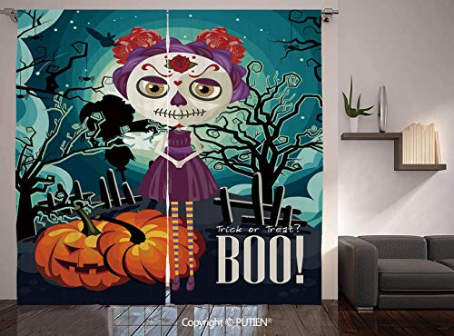Thermal Insulated Blackout Window Curtain [ Halloween,Cartoon Girl with Sugar Skull Makeup Retro Seasonal Artwork Swirled Trees Boo Decorative,Multicolor ] for Living Room Bedroom Dorm Room -