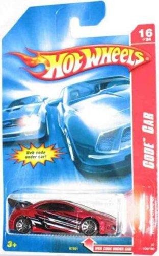Hot Wheels 2007 100 Code Car Series Red Honda Civic SI On A Blue Hot Wheels Stars - Wheels Stars Hot Card