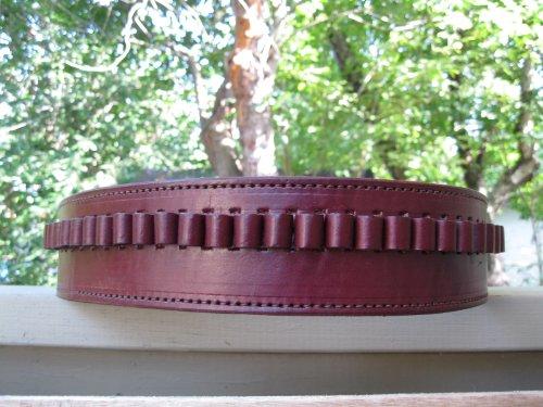 "36"" Wine Genuine Leather .38 Caliber Cartridge Gun Belt"