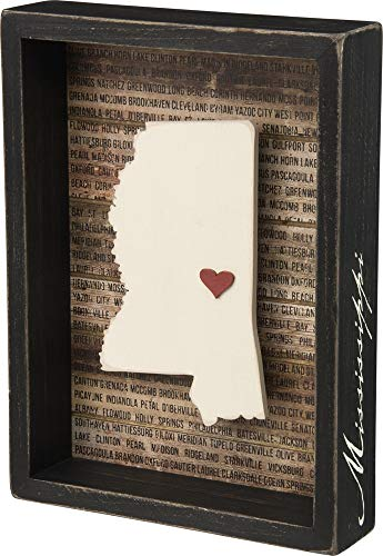 Primitives by Kathy State Pride Box Sign, - Mississippi Gift Box