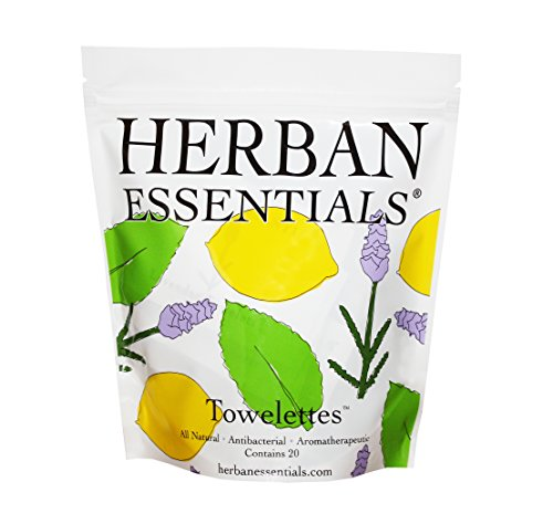 Oil Towelettes - Herban Essentials Mixed Bag (Lemon, Lavender and Peppermint Essential Oil Towelettes) - 20 Count