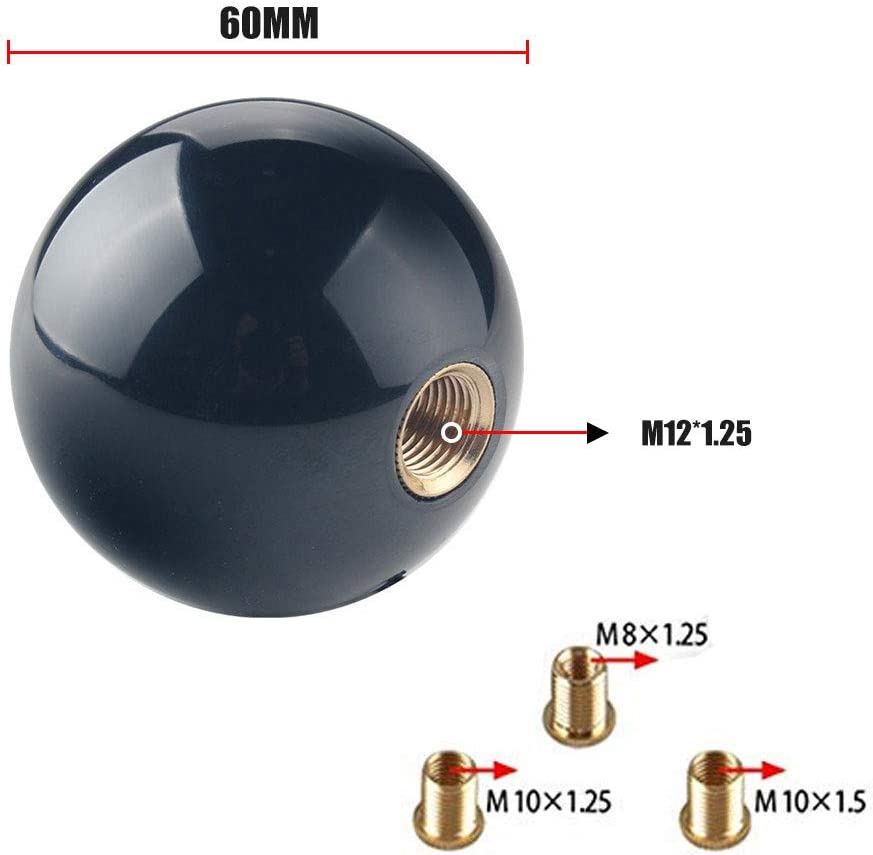 RASNONE Shift Knob Manual Gear Shift Lever Round Ball 8 Ball Unviersal 4 5 6 Speed with 3 Adapters Black