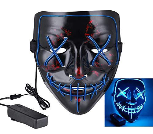 Halloween Mask LED Light up Mask for Halloween Festival Cosplay Halloween Costume Party Decorations -