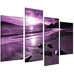 Large Purple Sunset Beach Split Canvas Landscape Wall Art Pictures Set 4 Prints - Contemporary Coastal Artwork - Split Multi Panel - XL - 130cm Wide