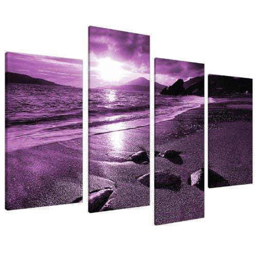 Large Purple Sunset Beach Split Canvas Landscape Wall Art Pictures Set 4 Prints - Contemporary Coastal Artwork - Split Multi Panel - XL - 130cm Wide (Bed Poster Standard Furniture)