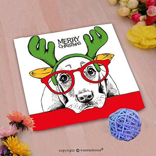 VROSELV Custom Cotton Microfiber Ultra Soft Hand Towel-christmas poster of a dog basset hound portrait in mask santa s antler reindeer and glasses ve Custom pattern of household (Basset Hound Dog Portrait)