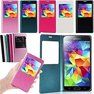 CeeMart Silk Print Window Leather Case for Samsung Galaxy S5 I9600 - Blue