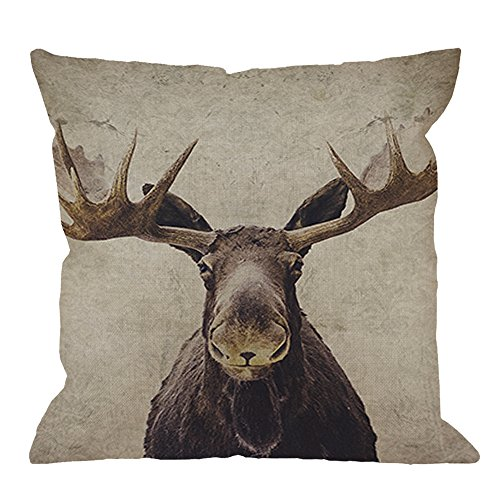 HGOD DESIGNS Moose Throw Pillow Case Cotton Linen Square Cushion Cover Standard Pillowcase for Men Women Home Decorative Sofa Armchair Bedroom Livingroom 18 x 18 inch (Pillows Lodge Throw)