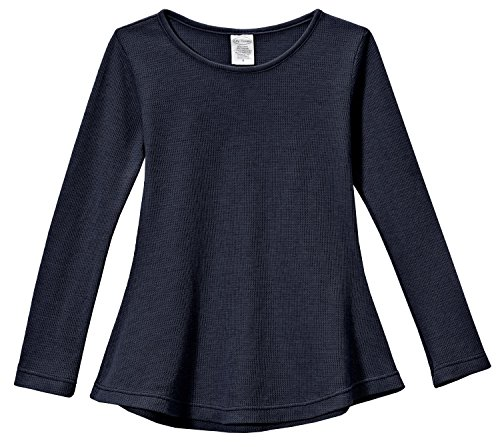 City Threads Little Girls' Thermal Long Sleeve Tunic Shirt Tee Dress For School Party Play, Navy, 5