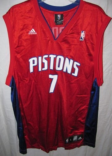- Detroit Pistons BEN GORDON #7 Men's NBA Replica Jersey, Red (XX-Large)