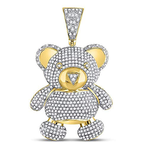 (Dazzlingrock Collection 10kt Yellow Gold Mens Round Diamond Teddy Bear Charm Pendant 2.00)