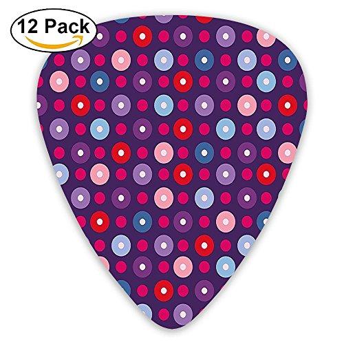 - Newfood Ss Geometric Circles With Inner Tone Round Artsy Retro Dots Print Guitar Picks 12/Pack Set