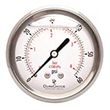 2-1/2'' Liquid Filled Pressure Gauges - Stainless Steel Case, Brass, 1/4'' NPT, Center Back Mount Connection 0-60PSI