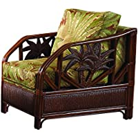 Hospitality Rattan 401-1365-TCA-C Cancun Palm Upholstered Rattan & Wicker Lounge Chair, Sunbrella Decades Sand