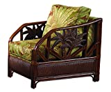 Hospitality Rattan 401-1365-TCA-C Cancun Palm Upholstered Rattan & Wicker Lounge Chair, Sunbrella Canvas Spa