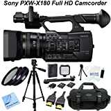 Sony PXW-X180 Full HD XDCAM Handheld Camcorder w/ CS Power Package: Includes Full Size Aluminum Tripod With Carrying Case, High Definition Filter Kit (UV,CPL,FLD), LED Video Light With 2 Lithium Batteries & Bracket, HDMI Cable, Shockproof Carrying Case, T