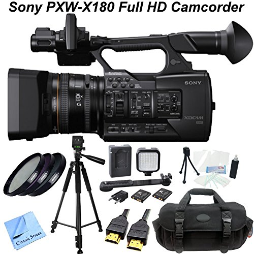 Sony PXW-X180 Full HD XDCAM Handheld Camcorder w/ CS Power Package: Includes Full Size Aluminum Tripod With Carrying Case, High Definition Filter Kit (UV,CPL,FLD), LED Video Light With 2 Lithium Batteries & Bracket, HDMI Cable, Shockproof Carrying Case, T by Sony