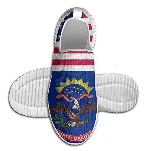 Ägg Ägg Usa North Dakota Flagga Kvinna Man Loafers Löparskor Andas Mesh Utomhus Sport Promenadskor Vita